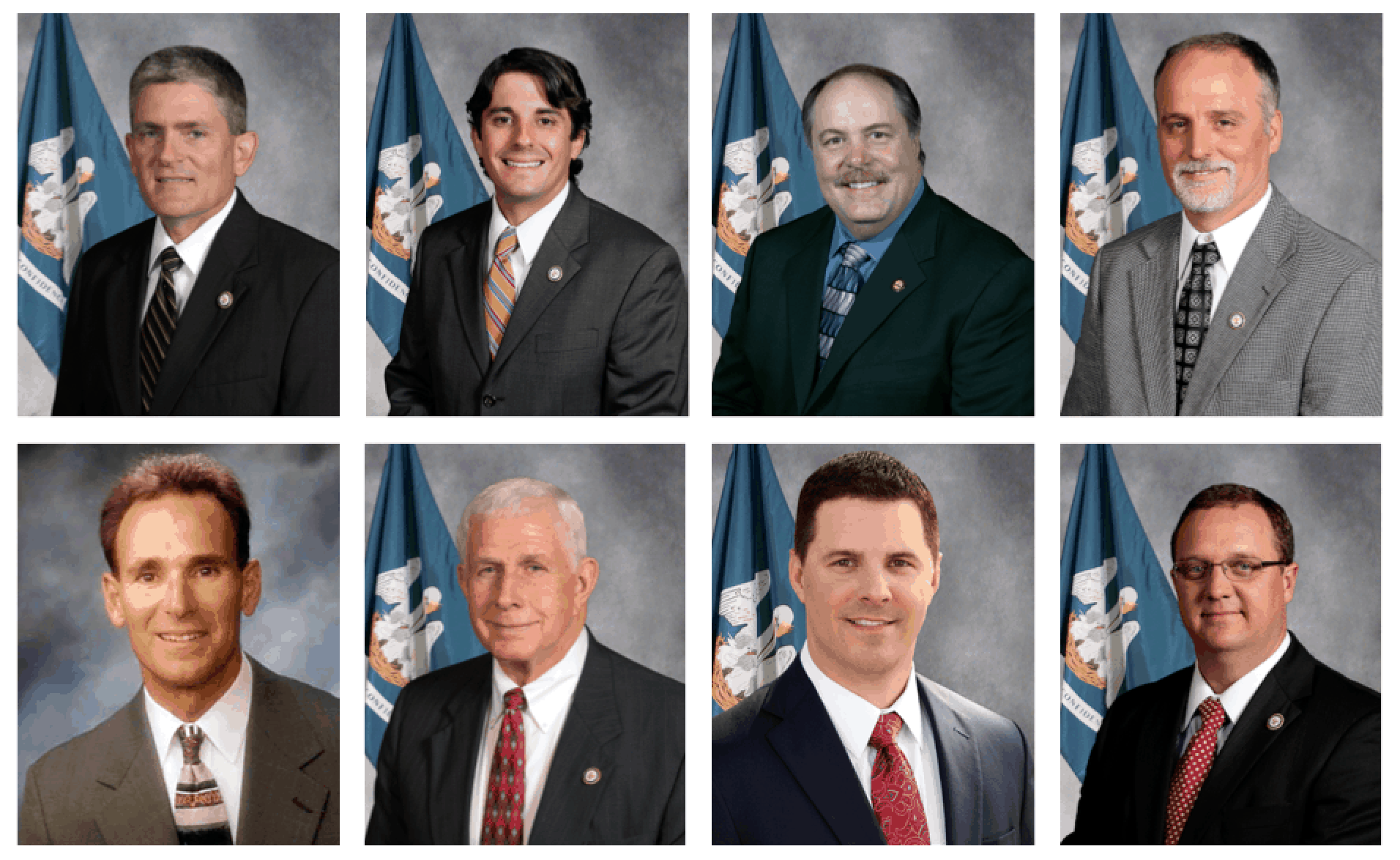 """On Monday, Jindal received a letter from anti-CCSS lawmakers calling on him to pull Louisiana out of PARCC. The letter was signed by (from top left): Rep. Brett Geymann, Rep. Cameron Henry, Rep. Jim Morris, Rep. Bob Hensgens, Rep. Jerome """"Dee"""" Richard, Rep. J. Rogers Pope, Rep. Barry Ivey, and Rep. Kenny Havard."""