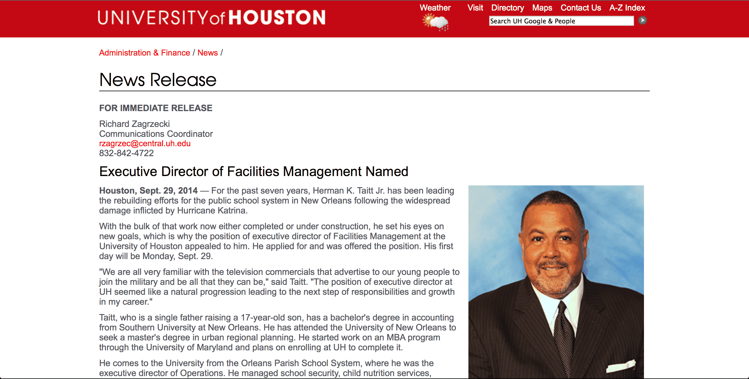 The University of Houston announced Taitt's hiring the same day news broke he was being charged by the Louisiana Board of Ethics.