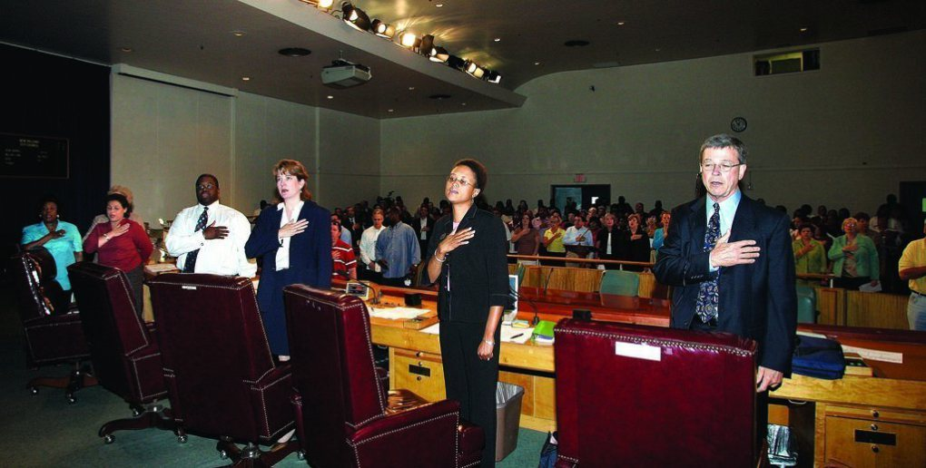 The Orleans Parish School Board at its first meeting held in the city in October 2005.