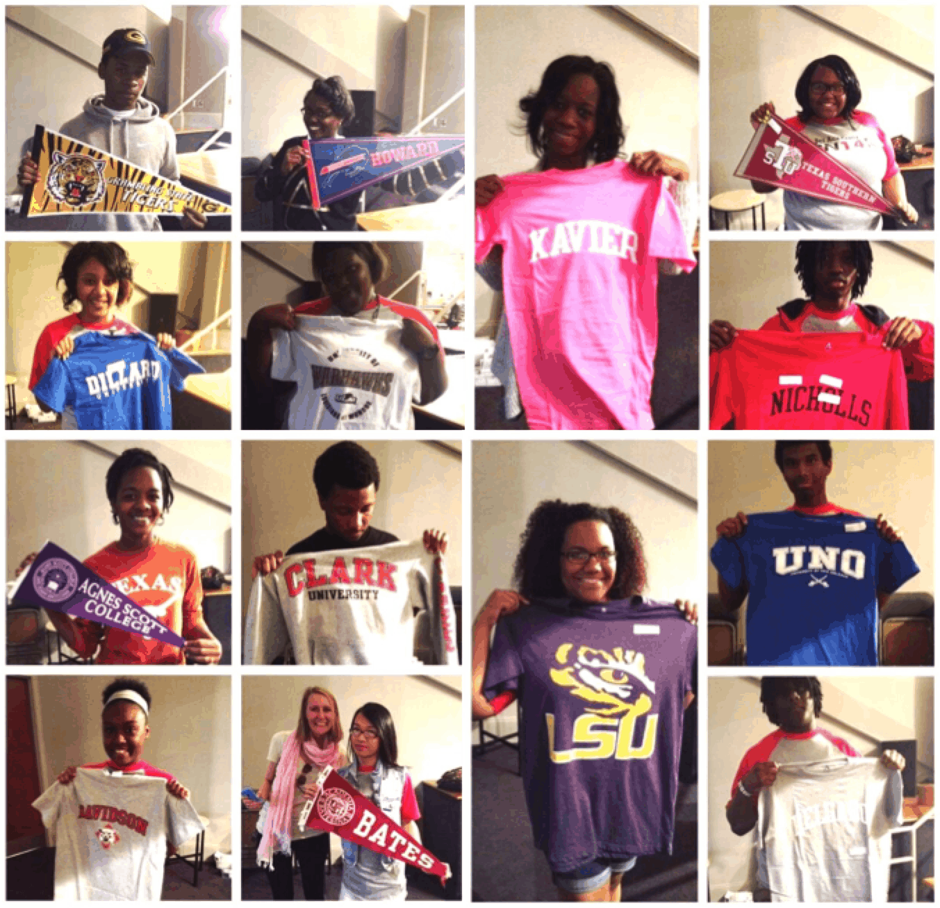 A group of seniors from Sci Academy's Class of 2014 pose with t-shirts and pennants from the colleges where they were accepted.