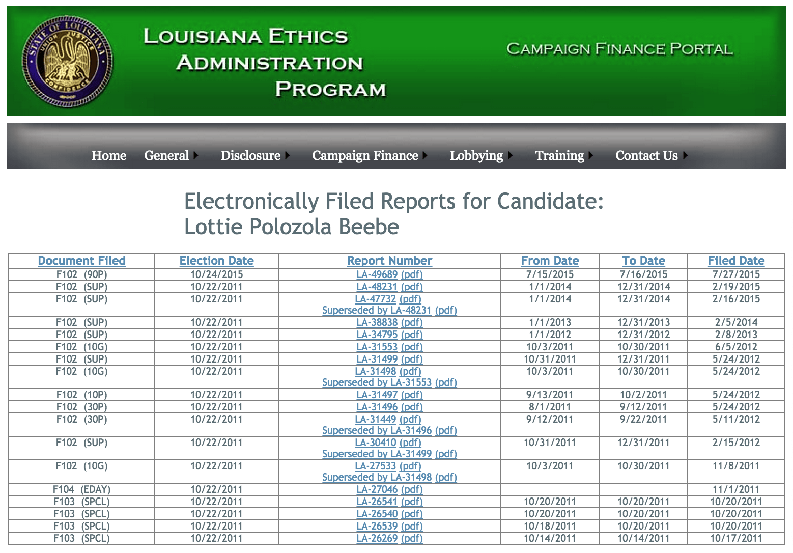 The list of Beebe's campaign finance reports on the LBE website.