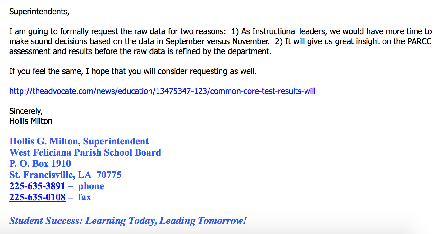 The first email on September 18th announcing Milton's plan to request raw test score data.
