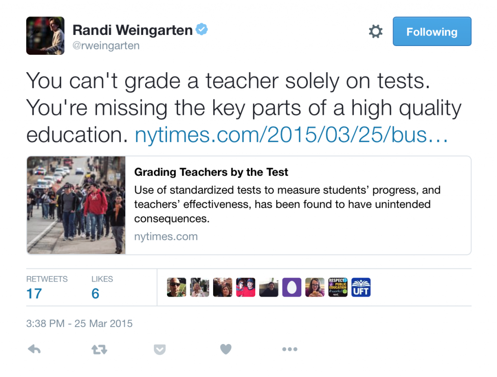 "Actually, this should say, ""We don't grade teachers solely on tests."""