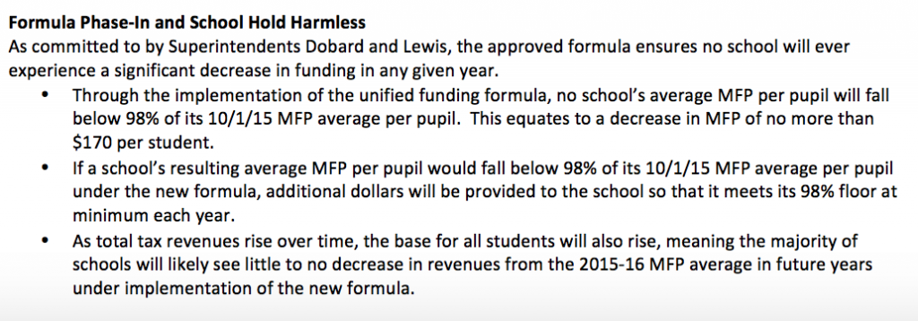 "The ""hold harmless"" provision from the new funding plan."