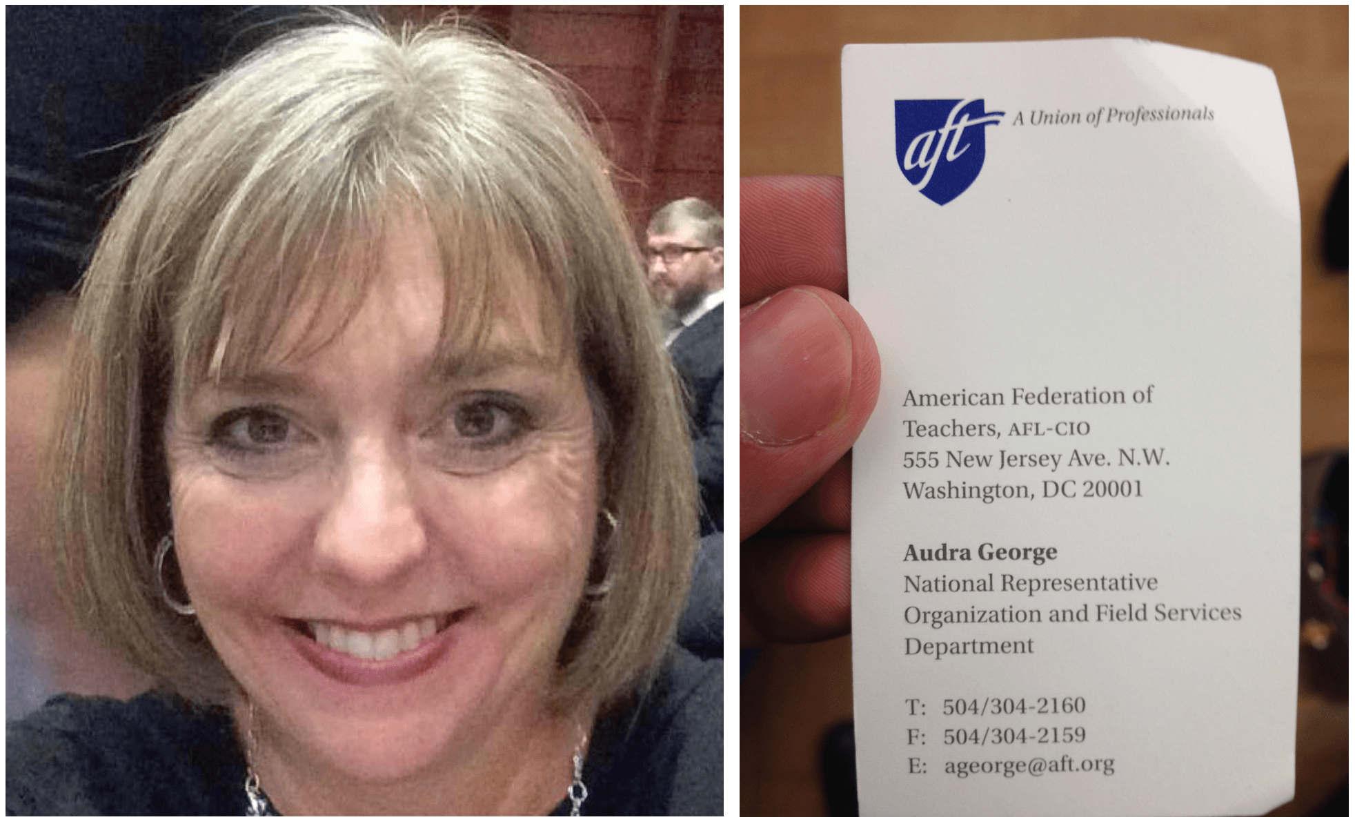 AFT's Audra George: Not as nice as she appears in this photo.