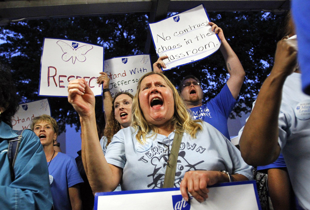 Teachers union supporters threatened and intimidated Jefferson Parish School Board members in 2012.