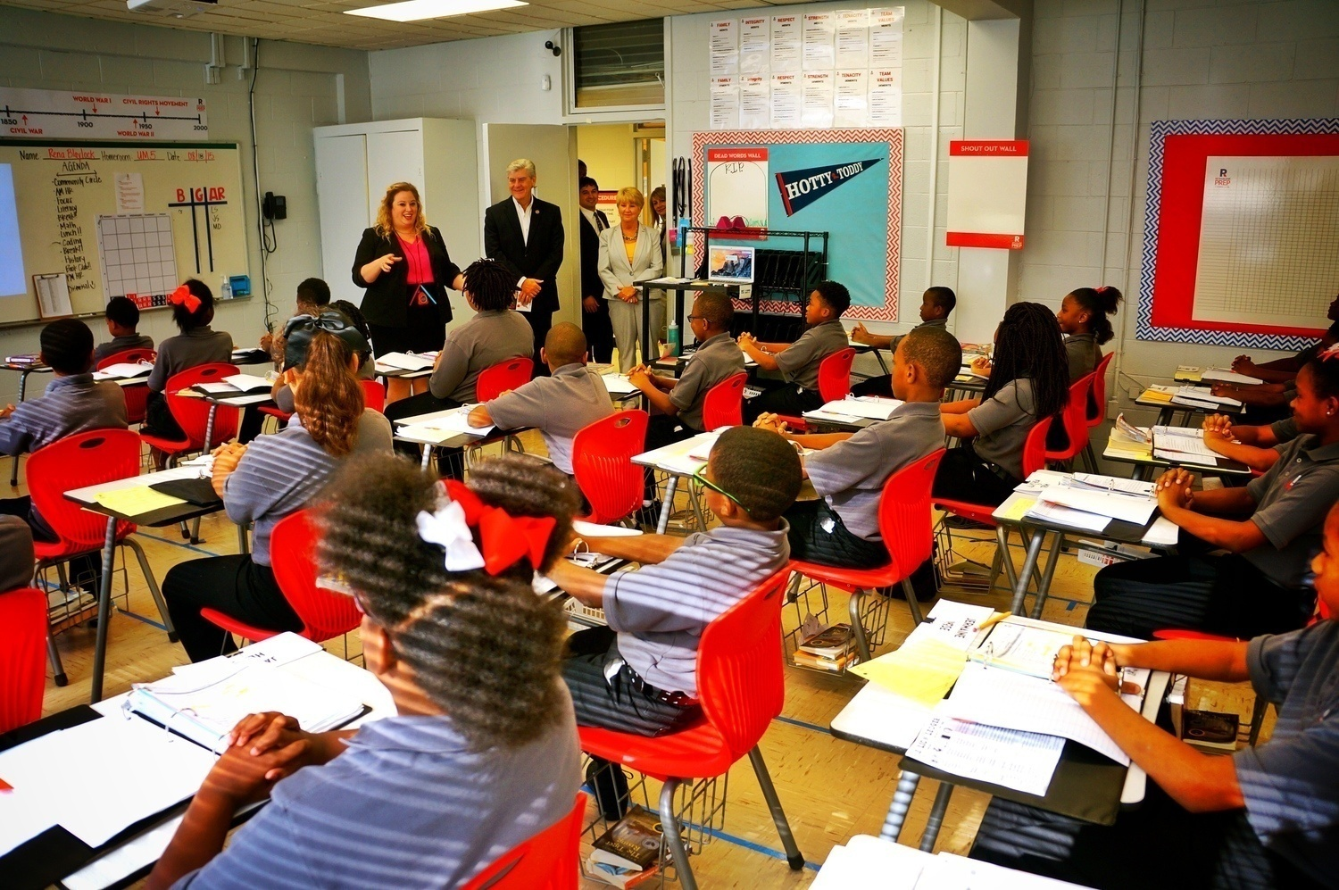 Mississippi Gov. Phil Bryant visits a classroom at Reimagine Prep, one of two charters operating in the state.