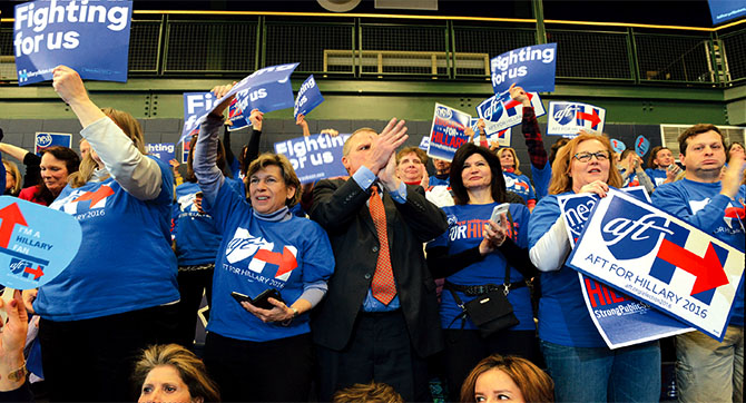 AFT and NEA have strongly backed Clinton.