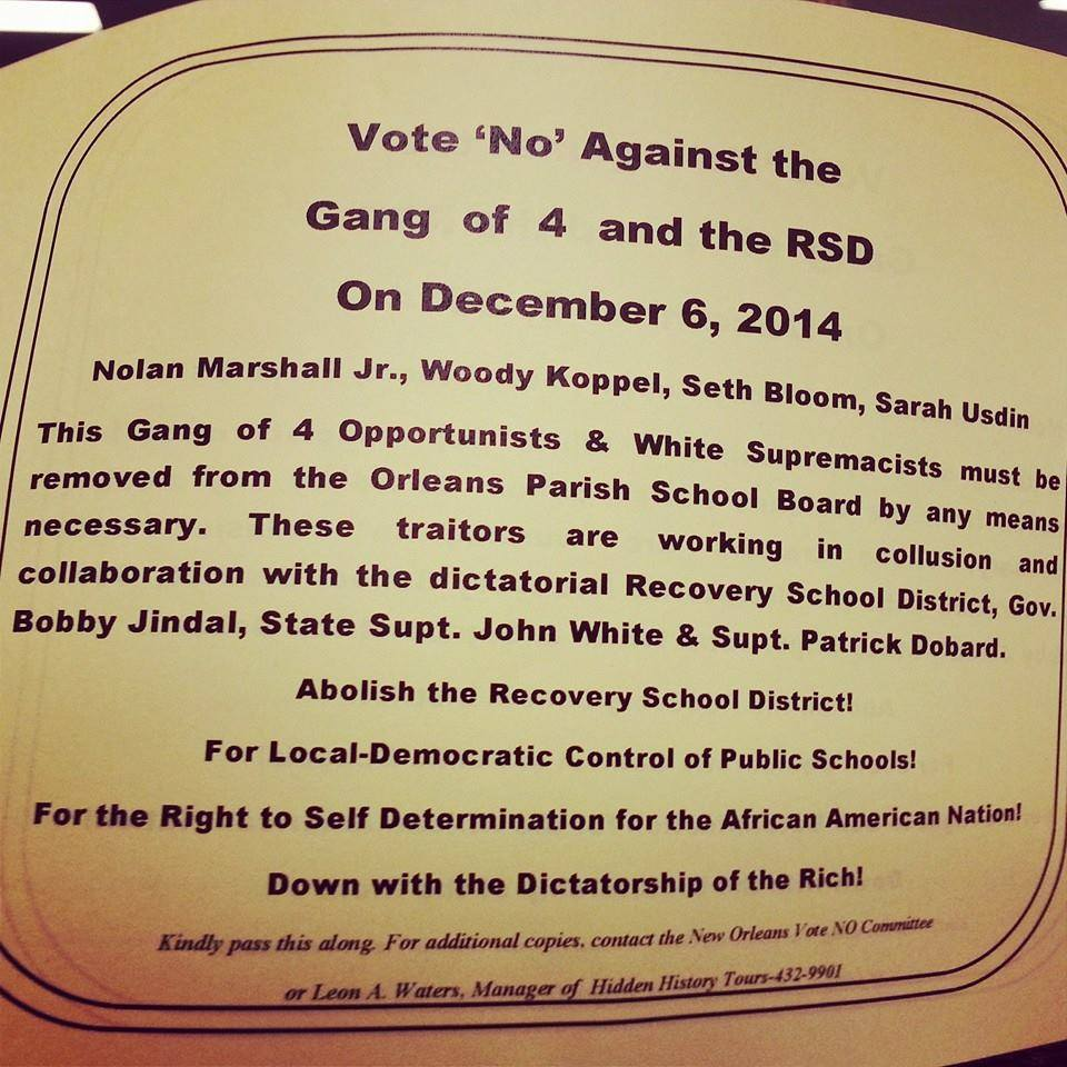This Justice & Beyond flyer called four OPSB members white supremacists, including Nolan Marshall, who is black.