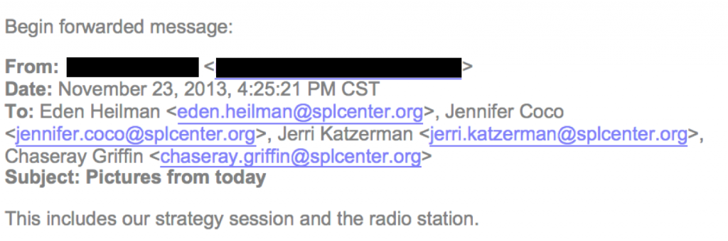 From an email circulated among SPLC's New Orleans staff on November 23, 2013.