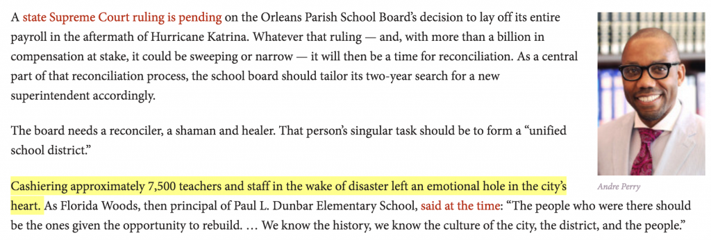"""From """"School board should look for opportunity in upcoming court ruling on post-Katrina teacher layoffs"""" - The Lens: October 8, 2014"""