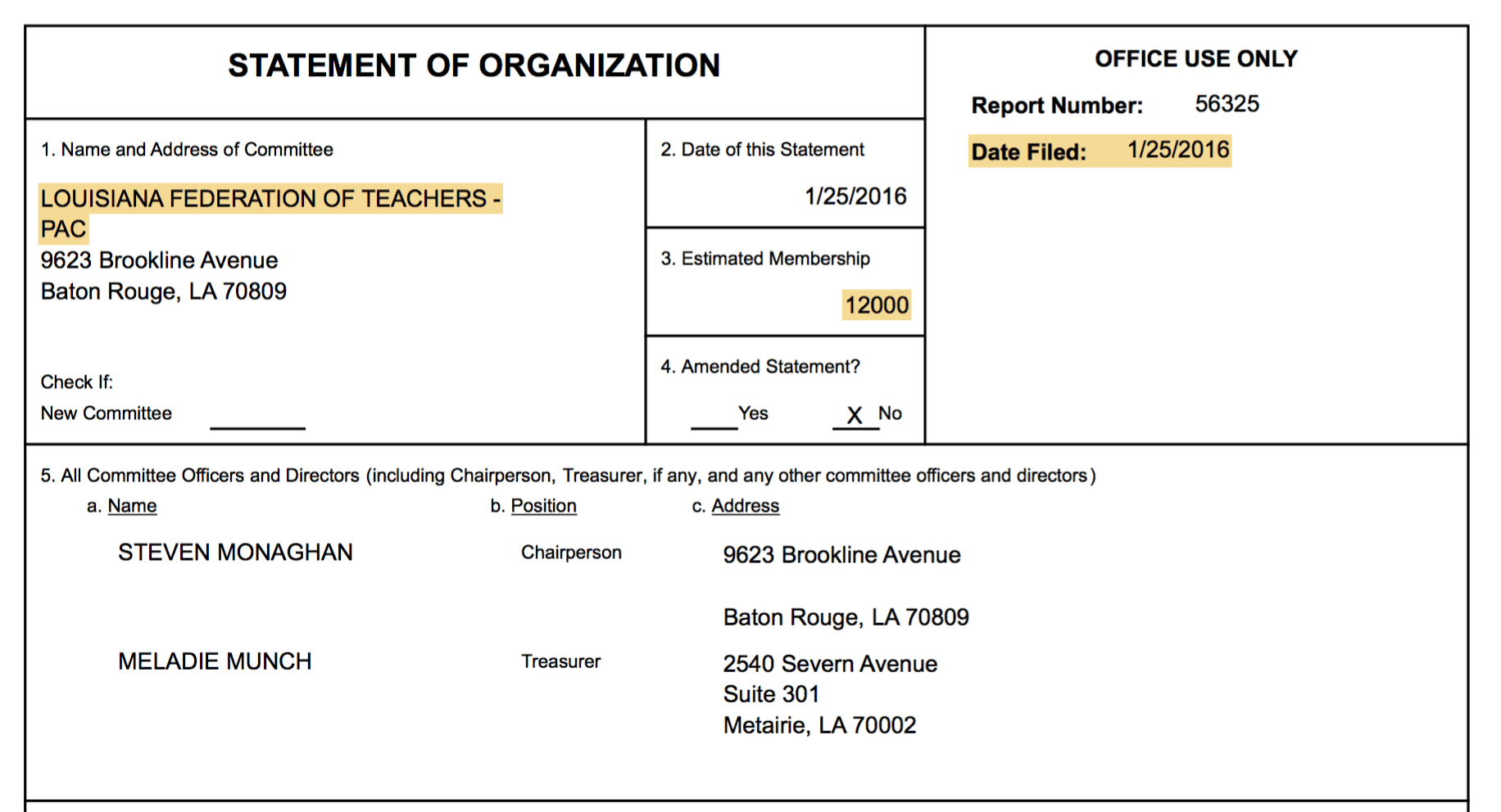In February, LFT told the Louisiana Board of Ethics they only had 12,000 members.