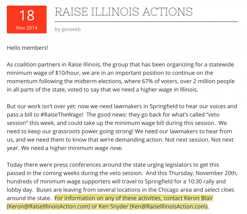 In 2014, Blair and Snyder worked for another faux group, Raise Illinois Action.