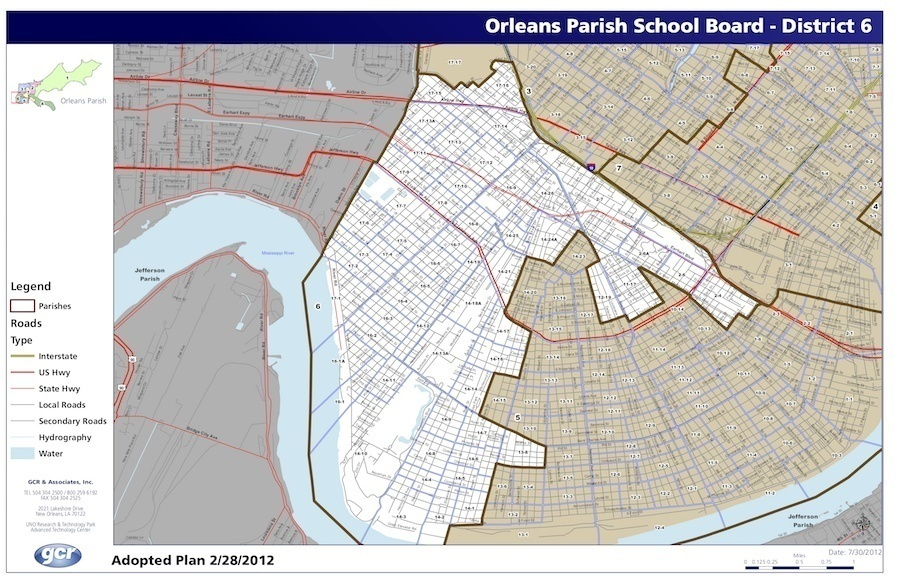 OPSB District 6 covers a large swath of Uptown New Orleans, including the Audubon, Carrollton, Hollygrove and Gert Town neighborhoods.